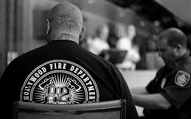 """Hollywood Fire Department"" in color and black and white. Leica M9 with Leica 50mm Summicron-M f/2.0"