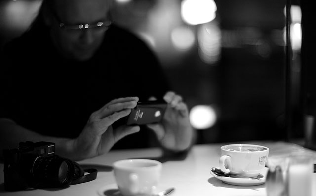 Bo Lorentzen shooting a cup of coffee with the Leica M13 prototype. Leica M9 with Leica 50mm Noctilux-M f/1.0
