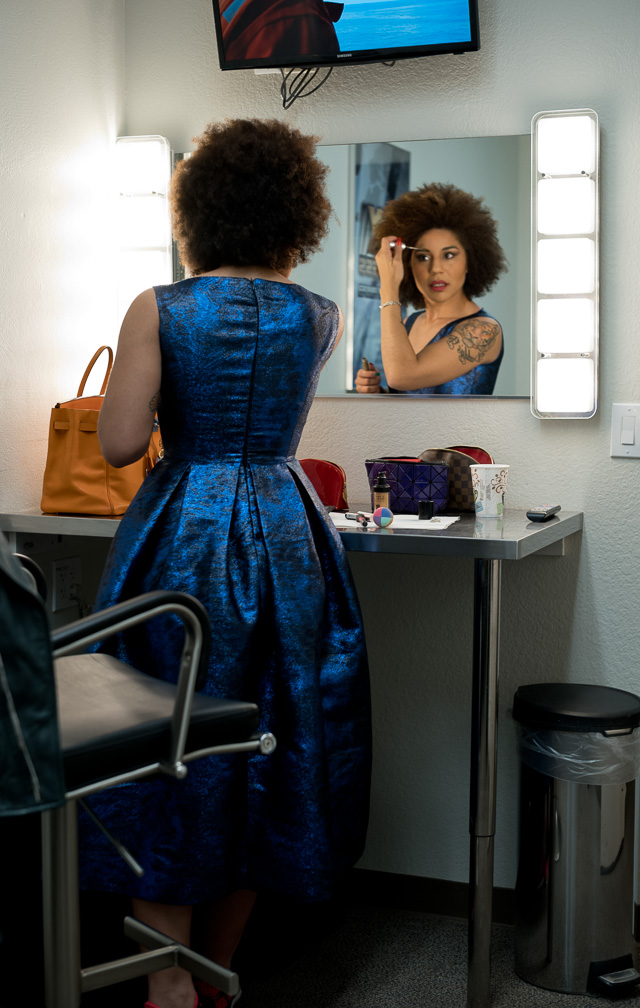 Joy Villa getting ready to go on Morning with Maria from the Los Angeles studio. Dress by Matteo Perin.