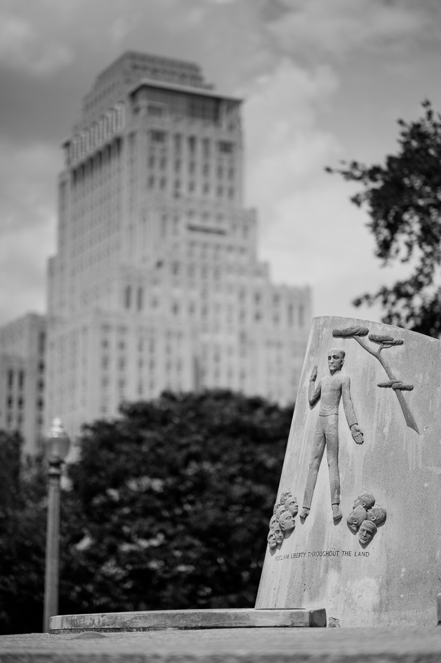Jewish Tercentenary Monument in Forest Park, St. Louis, with the Chase Park Plaza Royal Hotel in the background. The monument was designed by Danish-born artist Carl C. Mose. Leica M10 with Leica 75mm Noctilux-M ASPH f/1.25. © 2018 Thorsten von Overgaard.
