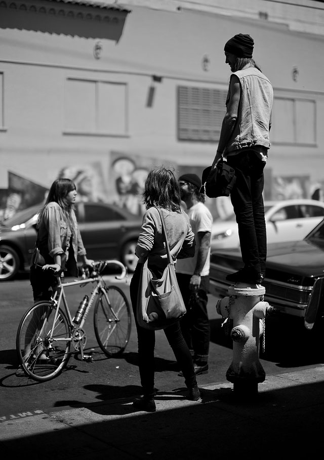 A group of young people having a talk outside a cafe in San Francisco. Leica M9 with Leica 50mm Noctilux-M ASPH f/0.95 and B&W 8X ND-filter