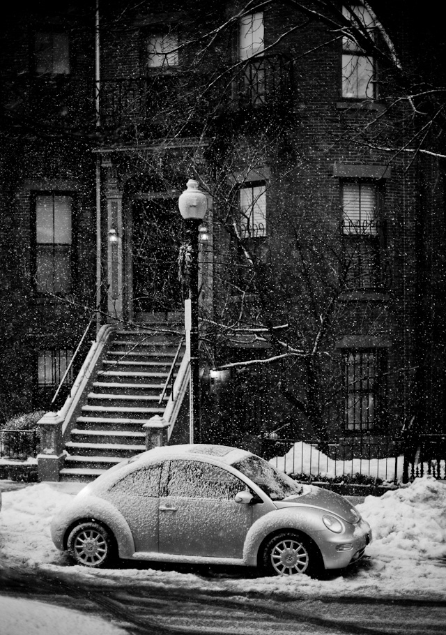 "Boston: ""Home, Sweet Home"" - I was waiting 10 minutes in wet snow for someone to walk into my composition to the right of this picture when I turned left and saw this house with the VW in front. I had been walking for two hours in wet snow and my face, hair, glasses, camera and viewfinder were so wet I could hardly focus. I shot two frames of this and then turned back to wait for someone walking in to my composition."