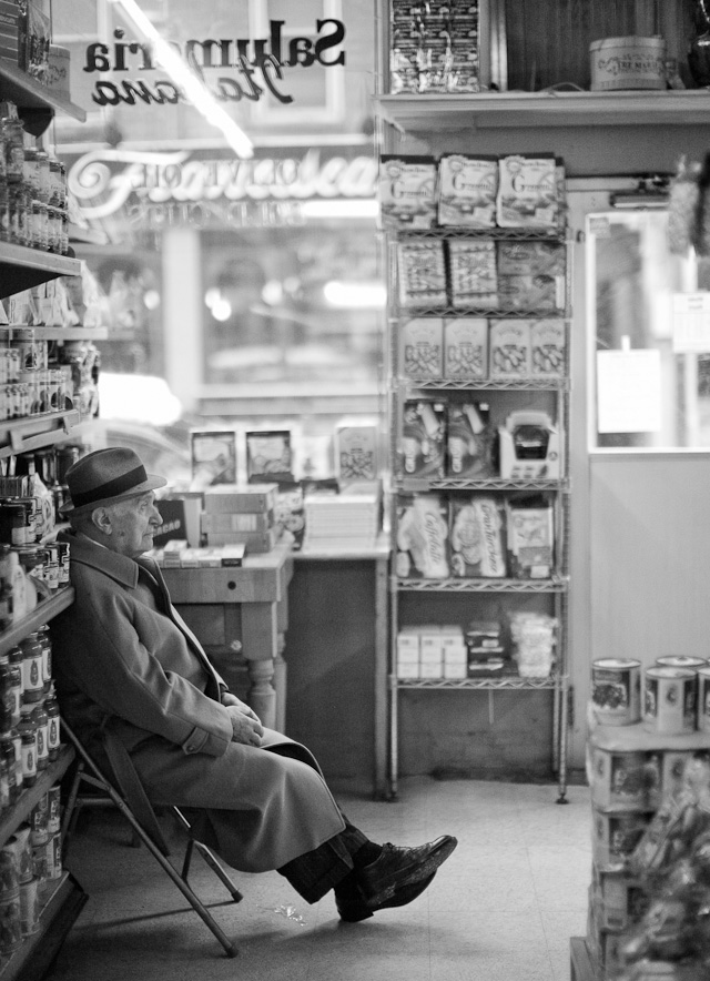 Boston: The former owner of the Italian delicatessen store Salumeria Italiano in Boston, Mr. Erminio Martignetti sits most days in the store and greets cutomers, wearing stylish hat and all. His son and a team of very Italian staff run the business these days.