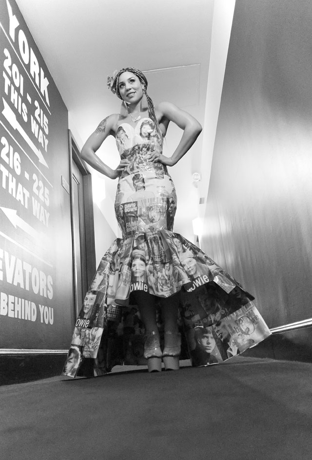 Joy Villa in the David Bowie dress made of vintage record covers. Photo by Mark Tenally.