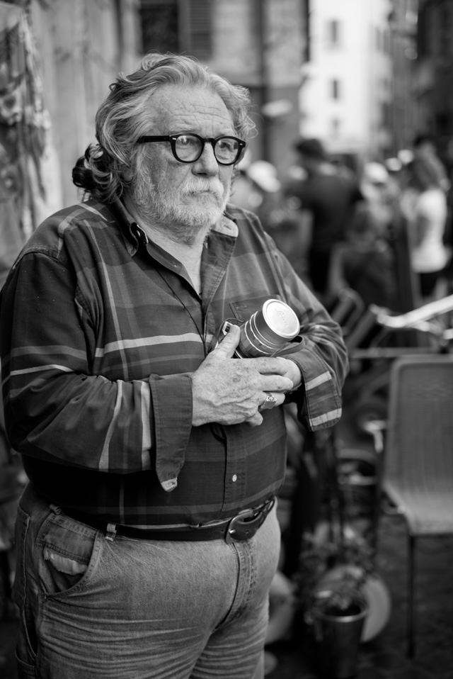 We met this man in the streets of Rome. First he didn't want his photo taken, but then he went into his store and got his Leica to show the lenses and cameras he had. Finally we eneded up doing some casual portraits. Leica M 246 with Leica 50mm APO-Summicron-M ASPH f/2.0. © 2016 Thorsten Overgaard.
