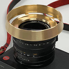 Brass E49 ventilated shade on Leica Q.