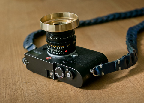 The special editon brass ventilated shade on the 35mm AA and Leica M10 with Rock'n'Roll strap on the camera.