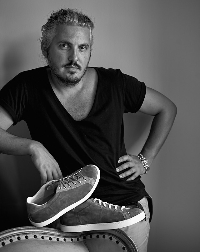 Matteo Perin in my new daylight studion in LA with his new line of shoes he designed. Handlade in Italy. Leica M10 with Leica 50mm APO-Summicron-M ASPH f/2.0 LHSA. © 2018 Thorsten von Overgaard.