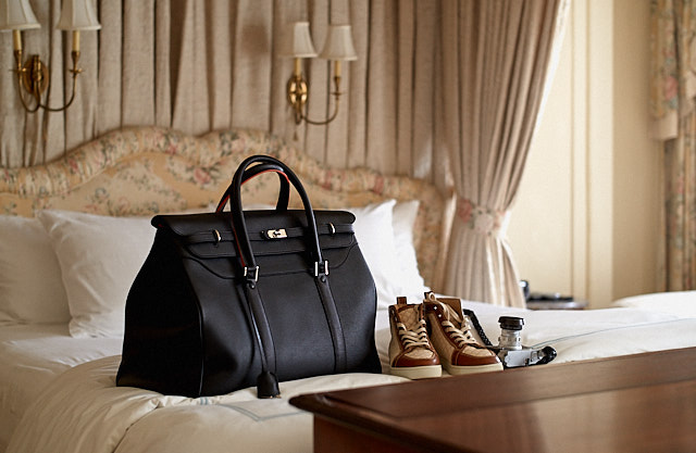 The Von 24hr Jetset Bag in black calfskin with cashmere insert.