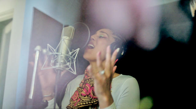 Joy Villa re3cording vocals. Video grab from Leica M 240.