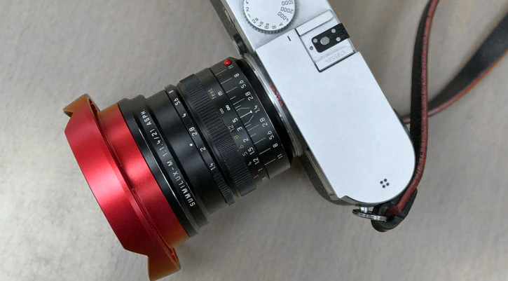 Leica 21mm Summilux-M ASPH f/1.4 with RED ventilated lens shade