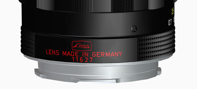 The LHSA limited edition has this special engraving with LHSA logo. In the later limited edition of the Leica 50mm Summilux-M ASPH f/1.4 Black Chrome lens, the feet are in red.