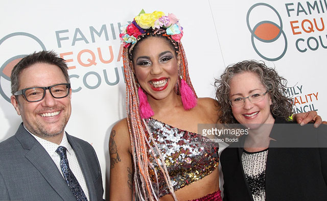 Joy Villa attended the Family Equality Council Impact Awards 2016 in Beverly Hills. Here with Brent Wright, Emily Hecht-McGowan of Family Equality Council. Photo by Tommaso Boddi.