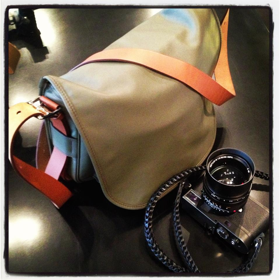 Hermes Barda bag made into a camera bag, with Leica M Monochrom and Annie Barton camera strap
