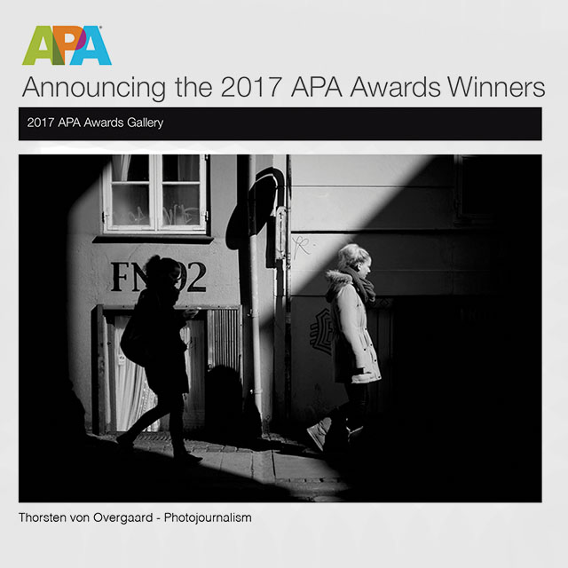 "My picture ""Shadowland"" won the category Photojournalism in the prestigious international competition by American Photographic Artists."