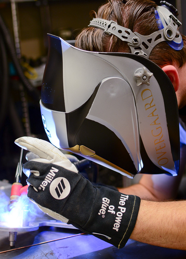 "Welding away. Notice the helmet ... one day we might do a ""Sexy stuff for Welding"" page!"