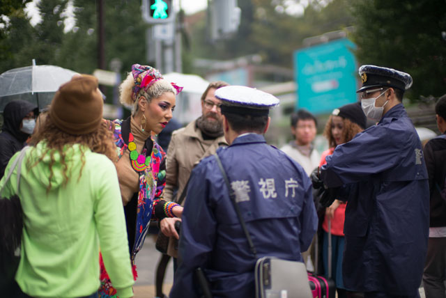Joy Villa almost getting arrested for disrupting the traffic in Tokyo. © 2015 Yuta Kawasaki