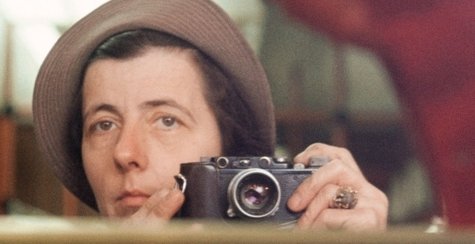 Vivian Maier with her Leica IIIc loaded with Kodak Ektachrome color film.