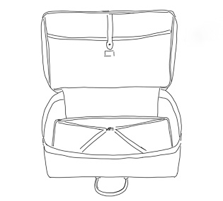 Light-weight soft-sided Matteo Perin suitcases with inside pocket (sketch fo client).