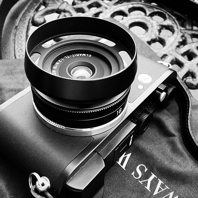 "Leica 18mm Elmarit-TL ASPH f/2.8 ""pancake lens"" on the Leica CL, with the E39mm ventilated shade designed by Thorsten von Overgaard. Camea strap by Rock'n'Roll Camera Straps & Bags."