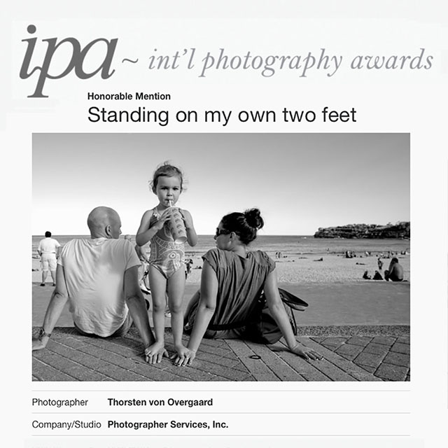 "I got Honarable Mention in the IPA 2018, the Int'l Photography Awards for my photo ""Standing on mu own two feet"". Last year I had two Hoanrable Mentions."