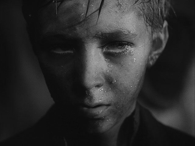 The edge light from outside the frame here adds highlight and shape to the water drops, as well as texture to the skin. Ivan's Childhood (1962, cinematography by Vadim Yusov, directed by Andrei Tarkovsky (and Eduard Abalov).