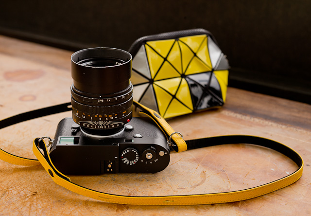 "Leica M 246 with Leica X yellow leather strap and Issey Miyake ""Bao Bao"" camera clutch. The BaoBao are funky, hard to get and limited editions come and go."
