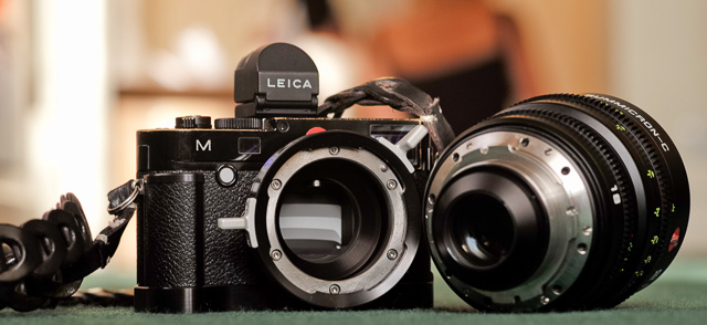 My Leica M240 with the Leica M PL Mount Adaptor and Leica Cine 18mm Summicron-C f/2.0. The lens is put into the PL mount and locked in place with the aluminum handle you see sticks out.