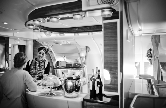 Joy Villa and Julia Karo hanging out in the Airbus A380 lounge on the Emirates