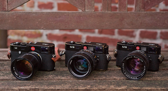 Leica 75mm Summilux, 50mm Noctilux and 80mm Summilux-R