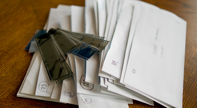 Much of the logics in organizing picture archives follows the logics of how it wsa done with it was film and photo paper. Whenever in doubt, think how you would do it if it was paper and not digital files. In the photo you see some of my negatives that organized in envelopes that has a number and a short description of the event inside, and date. © Thorsten Overgaard.
