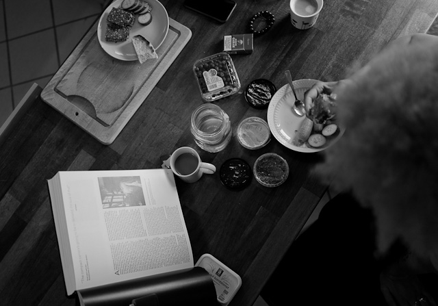 Joy Villa having breakfast with Oskar Barnack in the book 100 Year Leica. Leica Q (200 ISO, f/1.7, 1/125 second). © Thorsten Overgaard.