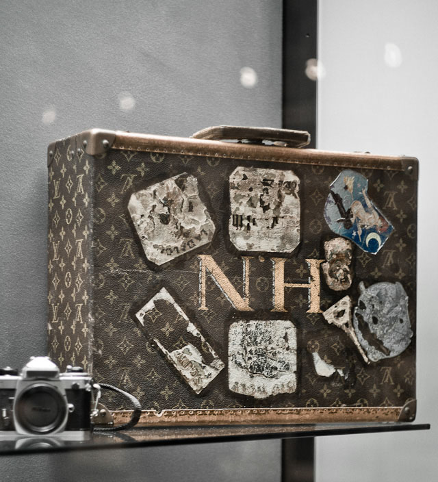Helmut Newtons Louis Vuitton case with initials on display along with his cameras, his clothes, his awards, his office and his car!