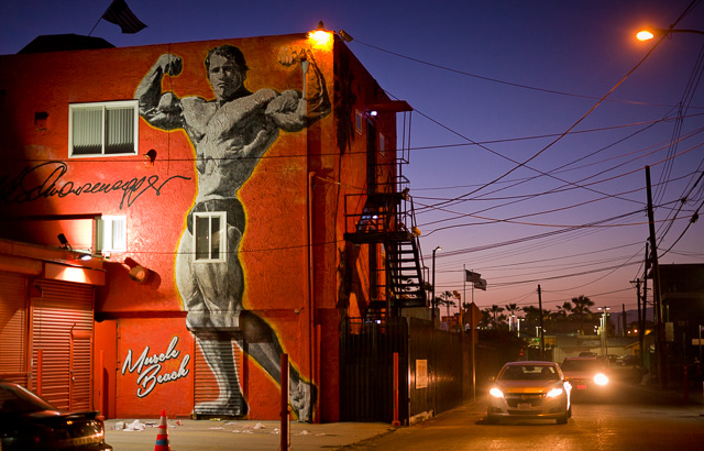 Arnold Schwarzenegger mural by Muscle Beach in Venice, Los Angeles