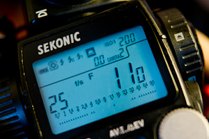 Sekonic L-758DR set to 25 fps for video