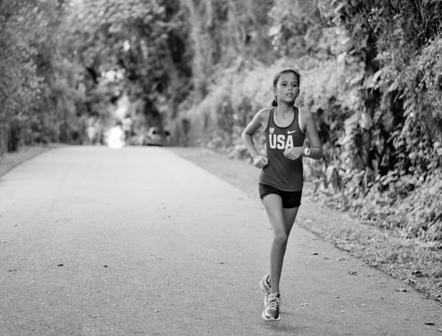A young school girl running for the USA in Coconut Grove. Leica M-D 262 with Leica 50mm Summilux-M ASPH f/1.4 BC. © 2016 Thorsten Overgaard.
