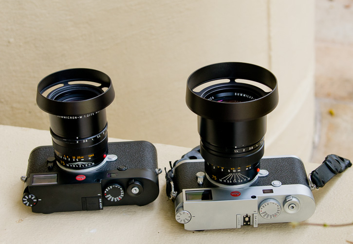 Leica 75mm APO-Summicron-M ASPH f/2.0 (left) with E49 Ventilated Shade by Overgaard, and 75mm Summilux-M f/1.4 Version III (right) with the E60 Ventilated Shade by Thorsten Overgaard.