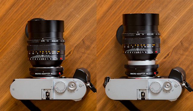 One easily overseen detail is that the macro ring is variable! It is very neatly designed and is a real piece of Leica engineering. One turns the ring and it expands, as simple as that. $690 at BH Photo.