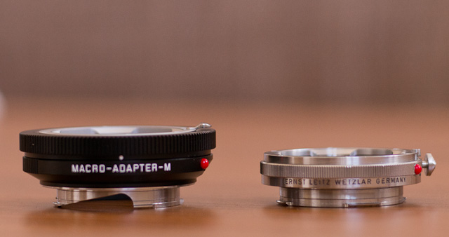 Macro adapters for the Leica M10: Leica Macro-Adapter-M (Typ 14.562) in 2014 (5) to the left and the OUFRO to the right. © 2013-2017 Thorsten Overgaard.