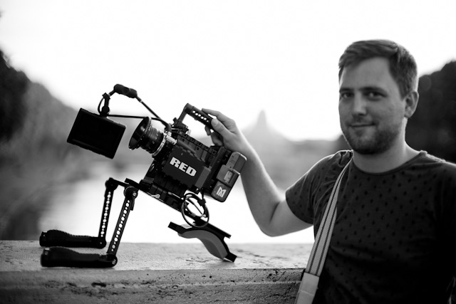 Director Reid H. Bangert from Northpass Media in Rome with the RED Scarlet equipped with a Leica 50mm Summilux-R f/1.4 lens