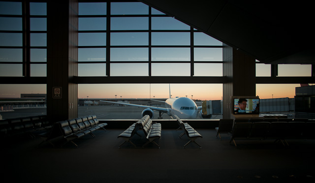 Nirata Airport early morning. A peaceful Japan Airlines flight waiting for the airport to wake up. Leica M 240 with Leica 21mm Summilux-M ASPH f/1.4.