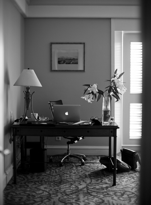 Work simply on a laptop when on the road, and offload to external drives when back home. Here's my hotel room in Jakarta. Leica M 240 with Leica 50mm Noctilux. © 2013-2018 Thorsten Overgaard