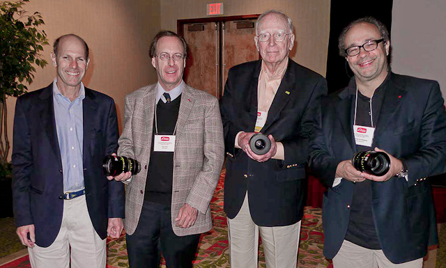 Jon Fauer, Iain Neil, Rolf Fricke (LHSA), Dr. Andreas Kaufmann, with Leica Summilux-C lenses at the LHSA meeting in Pittsburgh, 2011.