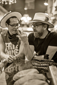Hat designer Van Huynh and Thorsten von Overgaard at JJ Hat Center in New York. Photo: Brian Shimansky.