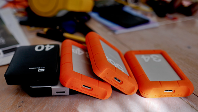 My portable hard drives are currently 4TB LaCie Rugged (USB3) and 2TB Western Digital (USB3).