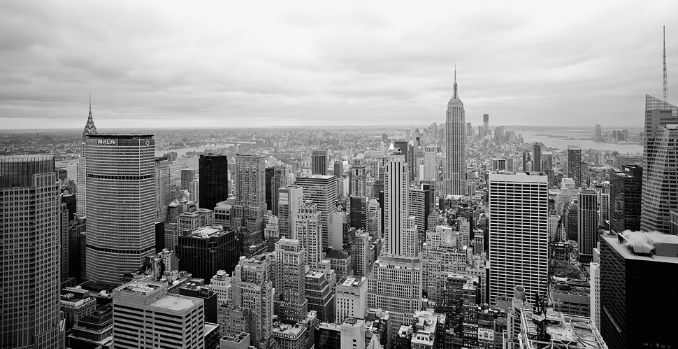 The New York skyline photographed with Leica M9 and Leica 21mm Super-Elmar-M ASPH f/3.4.  © 2012 Thorsten Overgaard.