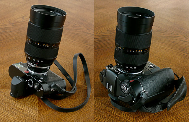 The 35-70mm Vario-Elmarit-R ASPH f/2.8 Macro on the Leica M240 (left) and on the Leica R8 (right).