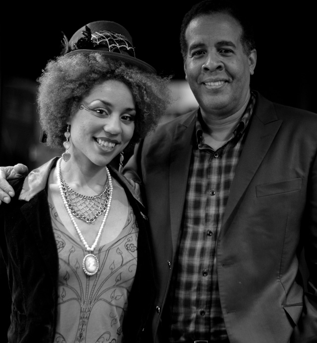 Joy Villa and Stanley Clarke backstage after the concert.
