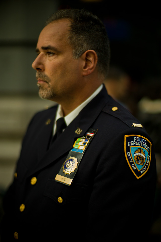 NYPD Officer Steve Mona. Leica M9 with Leica 50mm Noctilux-M f/1.0 at 160 ISO on Broadway in New York.