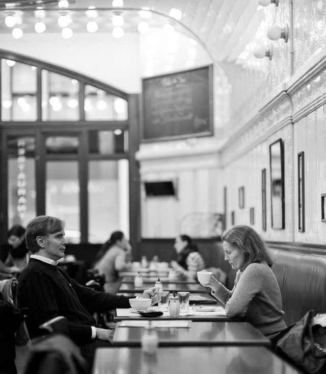 Paris Cafe, Hamburg, Germany, January. Leica M Monochrom with Leica 50mm Noctilux-M ASPH f/0.95. © 2013 Thorsten Overgaard.